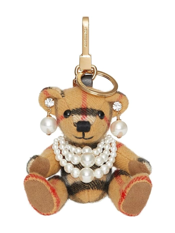 Best Luxury Keychains and Keyrings and Keyrings - BURBERRY Thomas Bear Charm with Faux Pearls