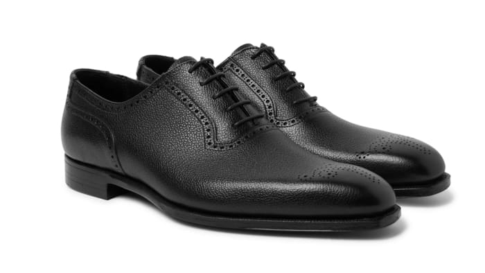 Best Luxury Oxford Shoes - George Cleverley Anthony Pebble-Grain Leather Oxford Brogues