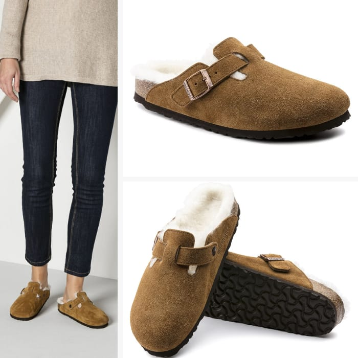 Birkenstock Slippers for Women - Boston Shearling Suede Leather