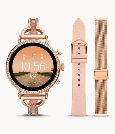 Fossil Gen 4 Smartwatch Venture HR Rose Gold-Tone Stainless Steel Interchangeable Strap Box Set - FTW6030SET