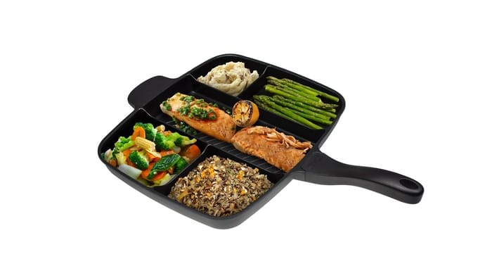 MasterPan - 5-Section Non-Stick Cast Aluminum Skillet, 15-inch