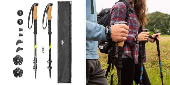 Best Trekking Poles - Cascade Mountain Tech Carbon Fiber Quick Lock Trekking Poles Cork Grip