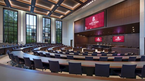 The 300 seat ceremonial courtroom will periodically host U.S. Court of Appeals sessions and also serve as an auditorium and large classroom