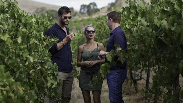 Chris Hemsworth and Elsa Pataky with Jacob's Creek Double Barrel Chief Winemaker Ben Bryant in the newly named Hemsworth Block