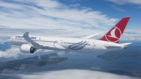 Boeing [NYSE:BA] and Turkish Airlines announced they have finalized a firm order for 25 787-9 Dreamliners with options for five more airplanes. This rendering shows the airplane in Turkish Airlines livery. (Boeing illustration)
