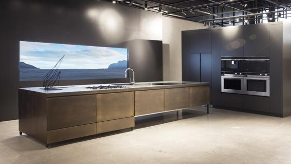 Hero kitchen island in the Costa Mesa Experience Center.