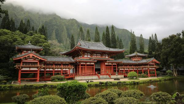 Byodo-In Temple, inside Valley of the Temples Memorial Park in Kaneohe, Hawaii.
