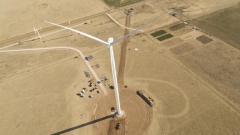 Goldwind Americas announces GW 3MW(S) test turbine. With a blade tip height of 199.2 meters, it is currently the tallest turbine installed in the U.S.