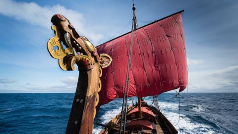 Draken Harald Harfagre, the world´s largest Viking ship sailing in modern times. Credit: Peder Jacobsson