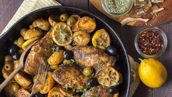 California Rustic Chicken with Olives from Vincent Ricchiuti a 3rd generation olive grower.