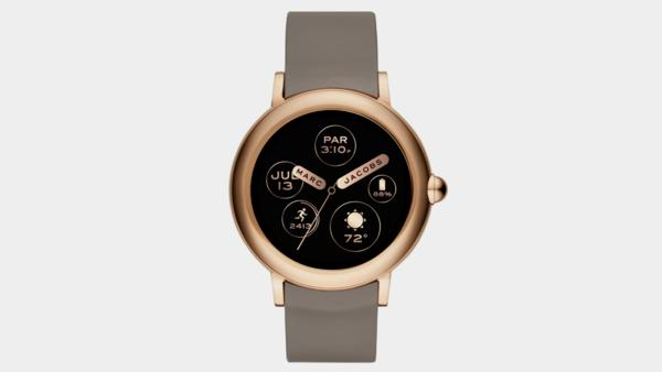 The Marc Jacobs Riley touchscreen smartwatch combines design and functionality with a variety of customizable faces ranging from quirky to sleek and the latest Wear OS by Google™ features.