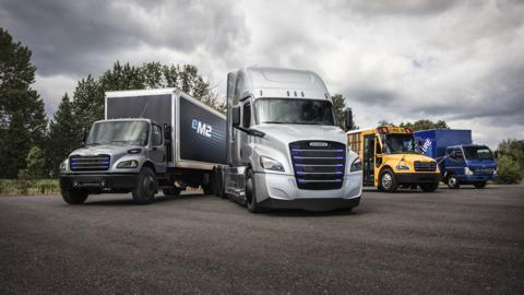 Daimler Trucks' line-up of commercial electric vehicles (from left to right): Freightliner eM2, Freightliner eCascadia, Thomas Built Buses Saf-T-Liner C2 Jouley, FUSO eCanter