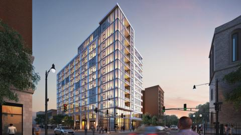 When completed, the Sheridan Road and Wilson Avenue development will contain 149 apartments in a twelve-story glass tower with 5,000-square-feet of ground floor retail space and 29 parking spots.
