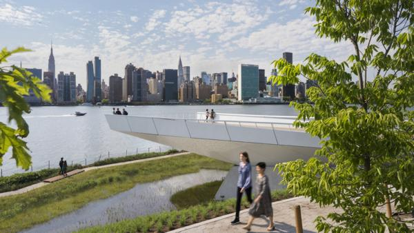 View of Overlook, wetlands, and pedestrian paths. Photo: Albert Vecerka/Esto, courtesy WEISS/MANFREDI