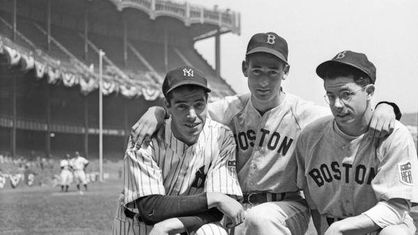 Two of the brothers DiMaggio, Joe, left, of the New York Yankees, and Dominic, right, of the Boston Red Sox, get together with Boston's star outfielder Ted Williams here, before meeting at Yankee Stadium in the New Yorker's first home game