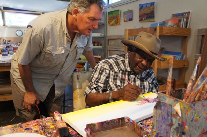 Adrian Newstead at Bindi Arts with Aboriginal artist Billy Benn