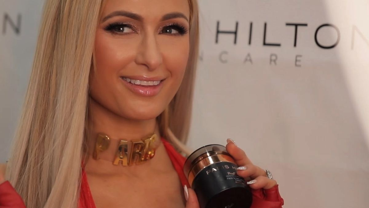 Paris Hilton supports her new skincare line ProD.N.A. at Cosmoprof North America.