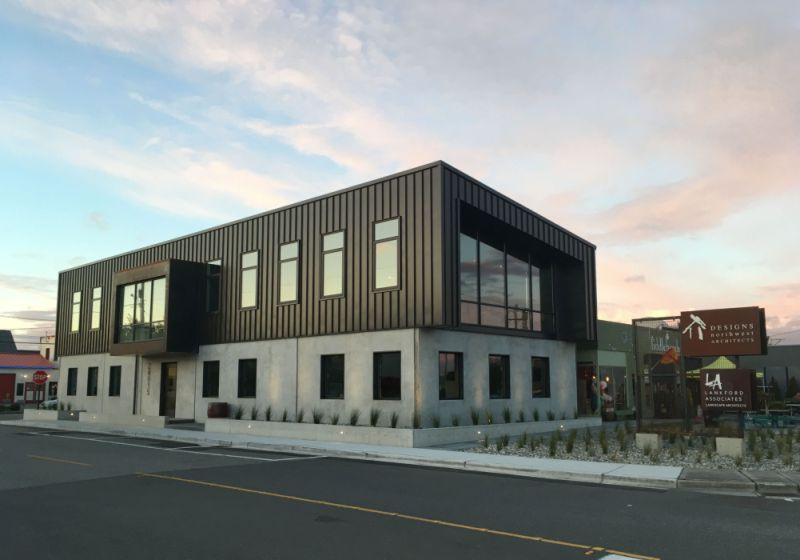 Designs Northwest Architects new office building. 6,000 sq. ft. and flood-proof office building.
