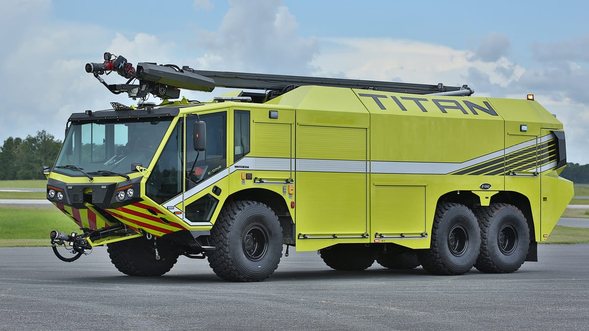 The new E-ONE TITAN 6x6 Aircraft Rescue and Firefighting Vehicle provides advanced capabilities to fire departments worldwide. (Photo: Business Wire)