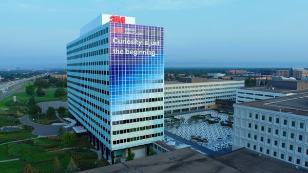 3M headquarters building in St. Paul has been wrapped to encourage people everywhere to pursue their own sense of curiosity. (Photo credit: 3M)