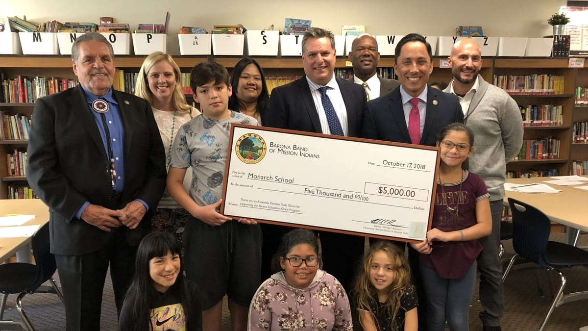 Homeless Students at San Diego's Monarch School Receive $5,000 Barona Education Grant to Update Classroom Technology