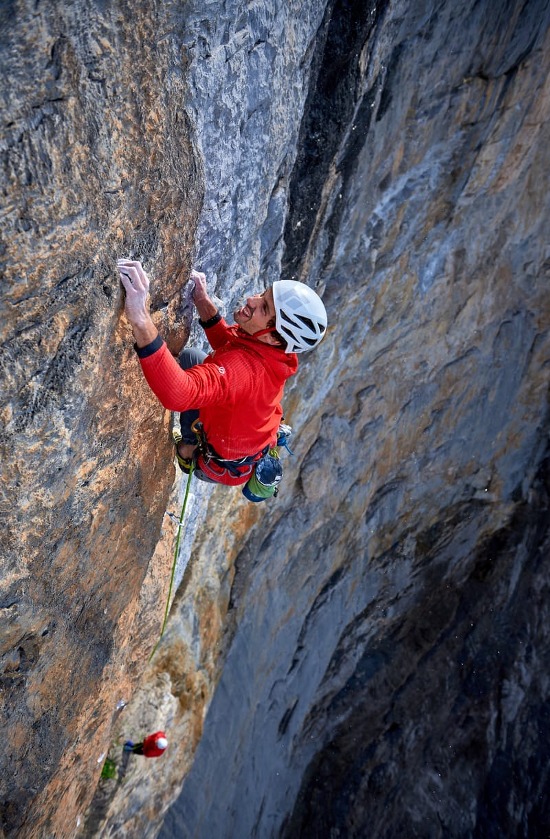 Jacopo Larcher on the crux pitch of Odyssee, the hardest route on Eiger Nordwand. ©Paolo Sartori
