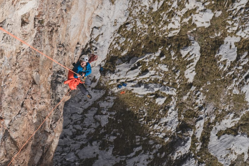 Paolo Sartori jumaring up a rope to get in the right shooting place on Rote Wand, Austria. ©Enrico Veronese