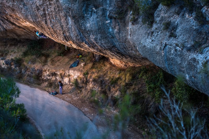 Stefano Ghisolfi climbing First Round First Minute, 9b. Margalef, Spain. ©Paolo Sartori