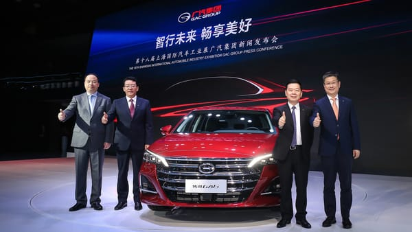 All-new GA6 with (from left to right) Yu Jun, President of GAC Motor, Feng Xingya, President of GAC Group, Zeng Qinghong, Chairman of GAC Group, Wang Qiujing, President of GAC R&D Center
