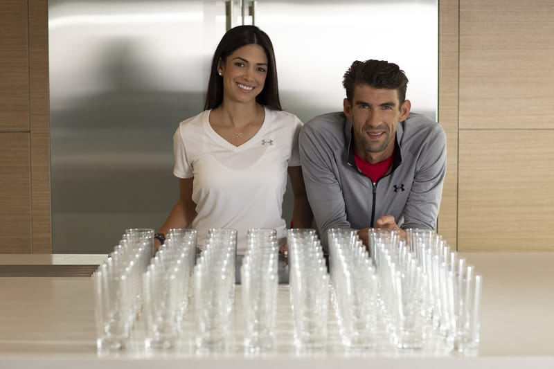 Nicole and Michael Phelps, turn off the tap while brushing your teeth to save up to 64 glasses of water.