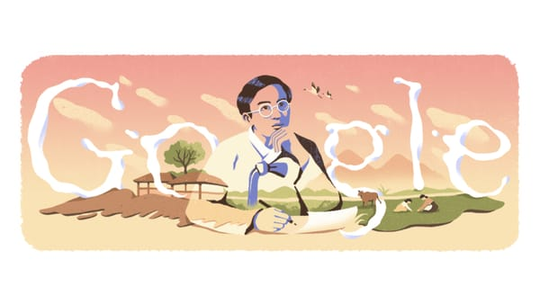 Jeong Ji-yong, Pioneer of Modern Korean Poetry - Image Credit: Google Doodle