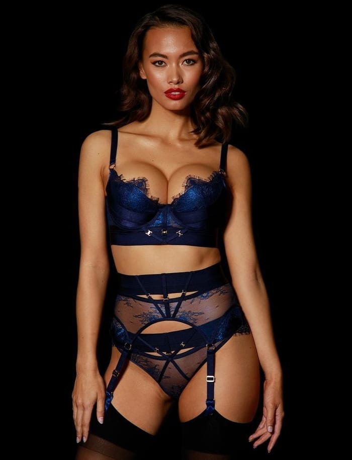 Honey Birdette - Lingerie - Belinda Navy 3 Piece Set
