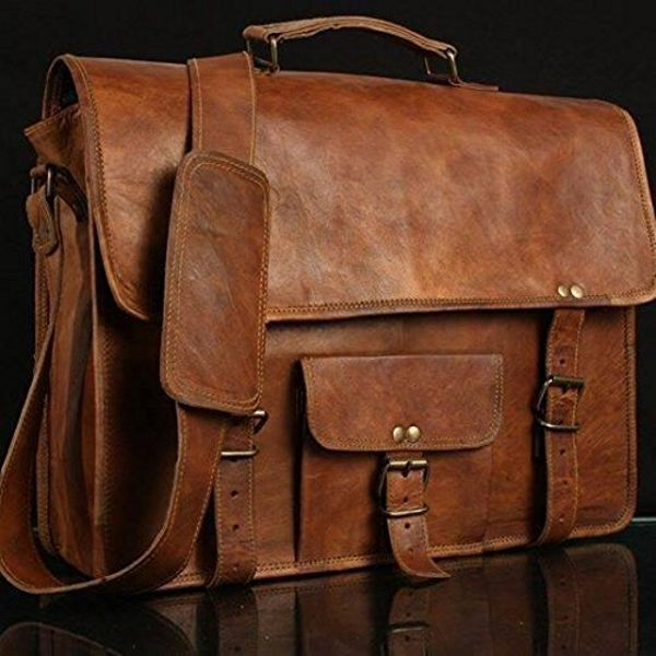 UNS Real Leather Messenger Laptop Briefcase
