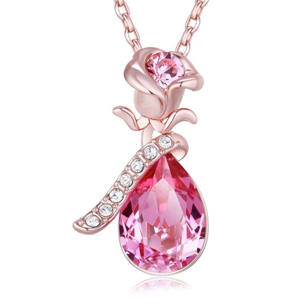 FAPPAC Flower Pendant Necklace Enriched with Swarovski Crystals